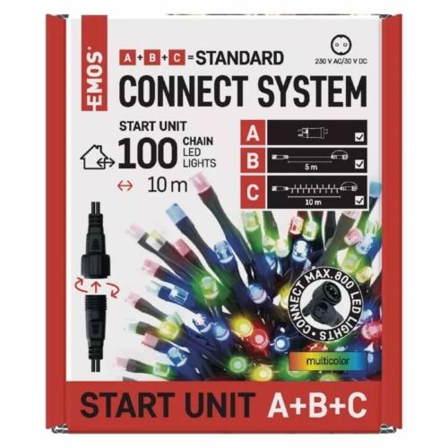 EMOS Alapkészlet Standard, sorolható, 10 m, többszínű, időzítő, IP44