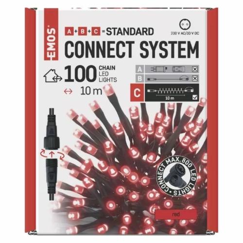 EMOS Standard LED sorolható karácsonyi füzér, 10 m, piros, időzítő, IP44