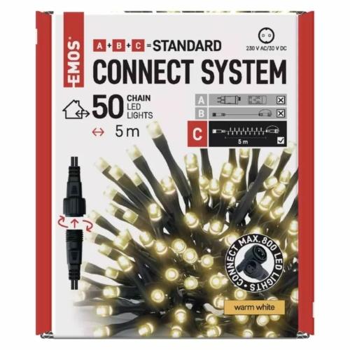 EMOS Standard LED sorolható karácsonyi füzér, 5 m, kültéri és beltéri, meleg fehér, időzítő