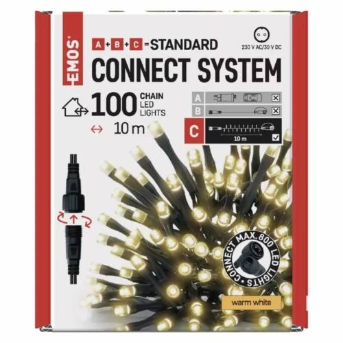 EMOS Standard LED sorolható karácsonyi füzér, 10 m, meleg fehér, időzítő, IP44