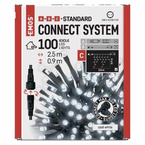 EMOS Standard LED sorolható karácsonyi füzér jégcsapok, 2.5 m, hideg fehér, időzítő, IP44