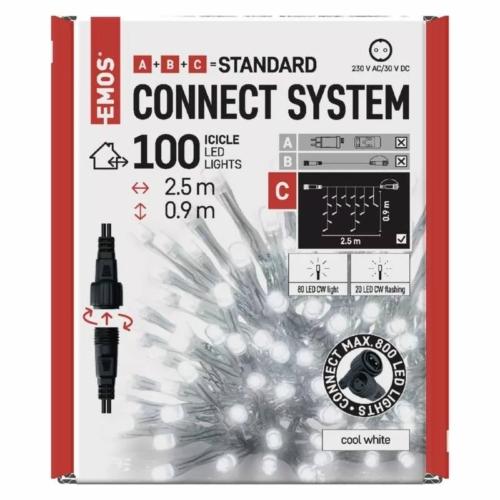 EMOS Standard LED sorolható füzér, villogó jégcsapok, 2.5 m, hideg fehér, időzítő, IP44