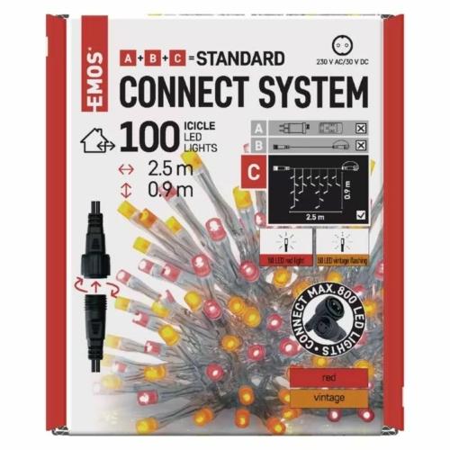 EMOS Standard LED sorolható füzér, pulzáló jégcsapok, 2.5 m, kültéri, piros/vintage, IP44
