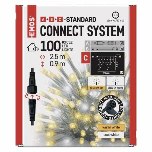 EMOS Standard LED sorolható füzér, villogó jégcsapok, 2.5 m, meleg/hideg fehér, IP44
