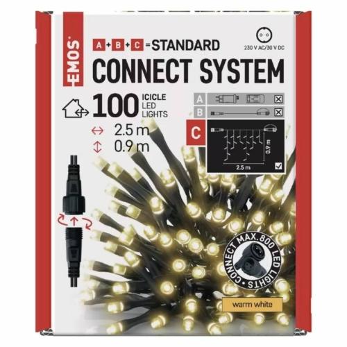 EMOS Standard LED sorolható karácsonyi füzér jégcsapok, 2.5 m, meleg fehér, időzítő, IP44