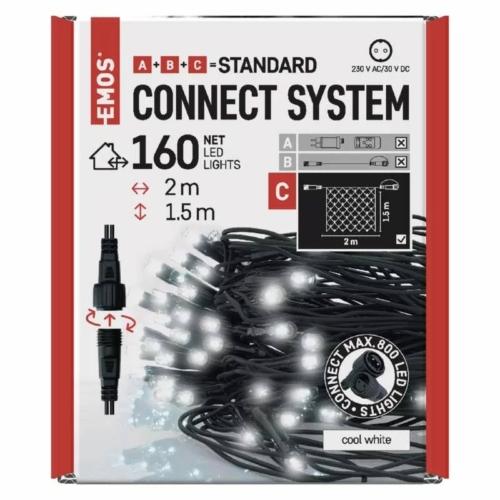 EMOS Standard LED sorolható karácsonyi füzér háló, 1.5x2 m, hideg fehér, időzítő, IP44
