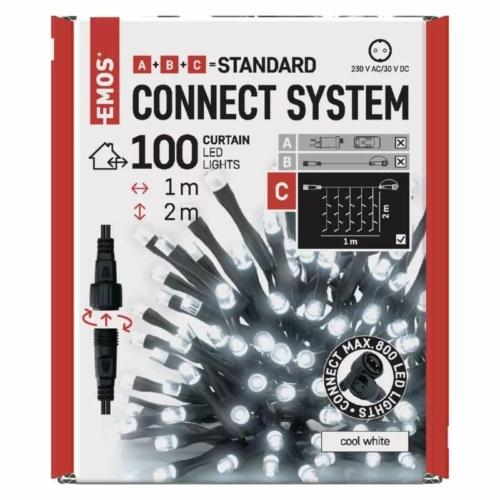 EMOS Standard LED sorolható karácsonyi füzér fényfüggöny, 1x2 m, hideg fehér, időzítő, IP44