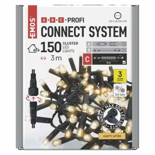 EMOS Profi LED sorolható füzér, fekete süni, 3 m, meleg fehér, időzítő, IP44
