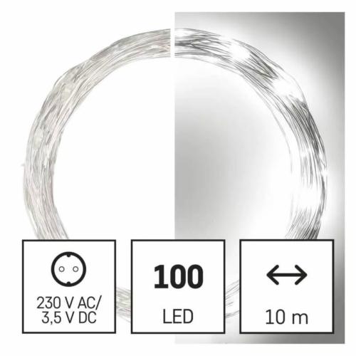 EMOS LED karácsonyi nano fényfüzér, ezüst, 10 m, hideg fehér, időzítő, IP44