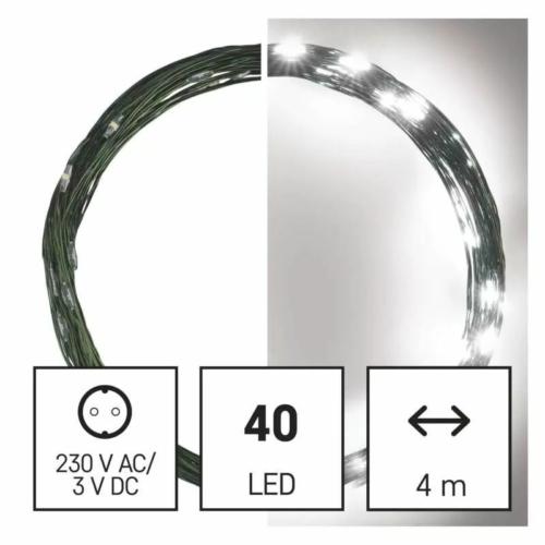EMOS LED karácsonyi nano fényfüzér, zöld, 4 m, hideg fehér, időzítő, IP44