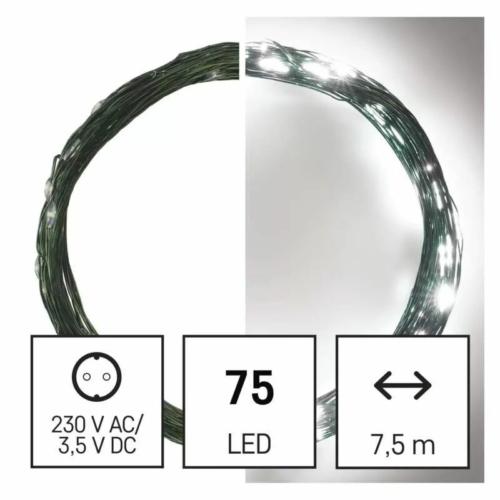EMOS LED karácsonyi nano fényfüzér, zöld, 7.5 m, hideg fehér, időzítő, IP44