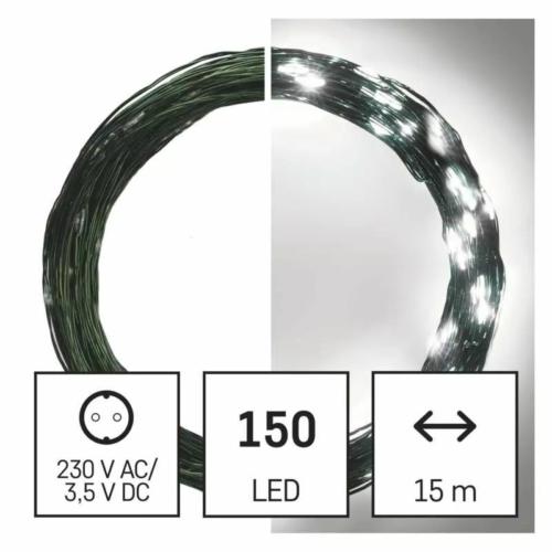 EMOS LED karácsonyi nano fényfüzér, zöld, 15 m, hideg fehér, időzítő, IP44