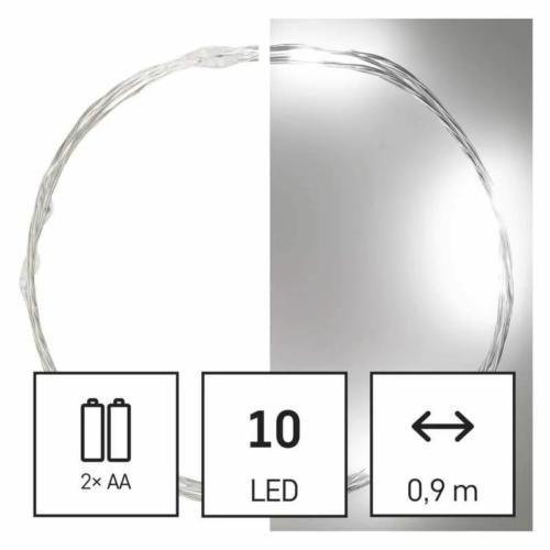 EMOS LED karácsonyi nano fényfüzér, ezüst, 0.9 m, 2x AA, beltéri, hideg fehér, időzítő