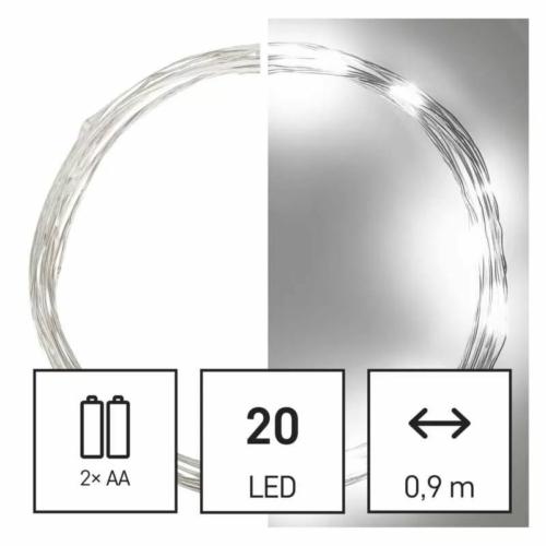 EMOS LED karácsonyi nano fényfüzér, 1.9 m, 2x AA, beltéri, hideg fehér, időzítő