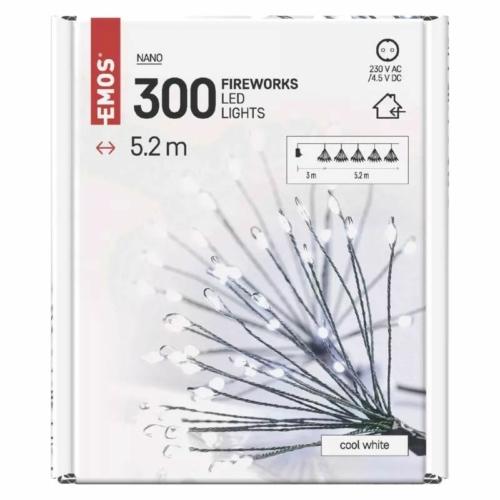 EMOS LED fényfüzér fürtök, nano, 5.2 m, beltérre, hideg fehér, időzítő