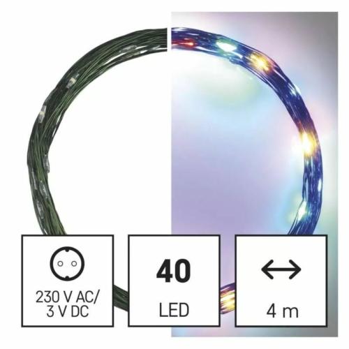 EMOS LED karácsonyi nano fényfüzér, zöld, 4 m, többszínű, időzítő, IP44