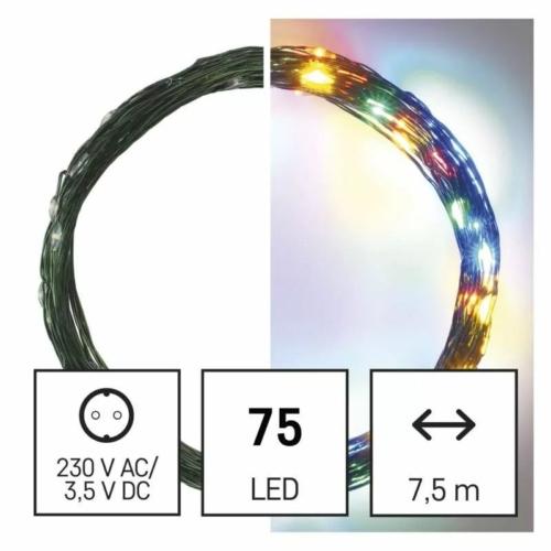 EMOS LED karácsonyi nano fényfüzér, zöld, 7.5 m, többszínű, időzítő, IP44