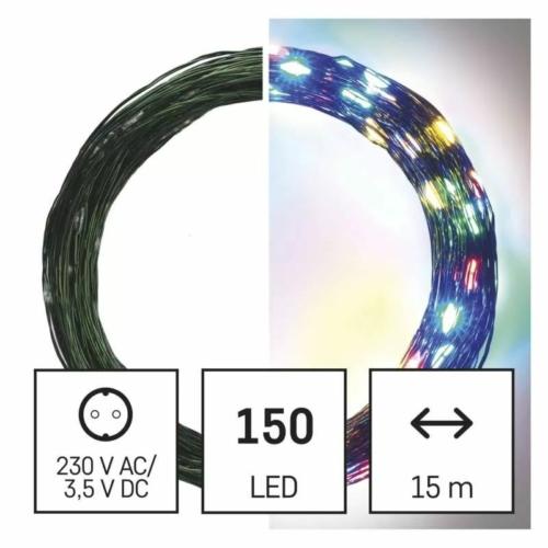 EMOS LED karácsonyi nano fényfüzér, zöld, 15 m, többszínű, időzítő, IP44