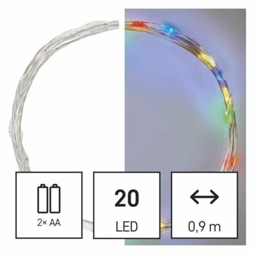 EMOS LED karácsonyi nano fényfüzér, 1.9 m, 2x AA, beltéri, többszínű, időzítő