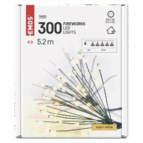 EMOS LED fényfüzér fürtök, nano, 5.2 m, beltéri, meleg fehér, időzítő
