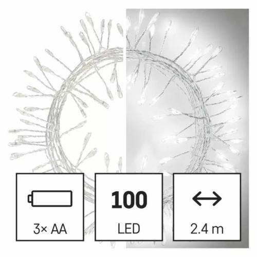 EMOS LED karácsonyi nano fényfüzér süni, 2.4 m, 3x AA, beltéri, hideg fehér, időzítő