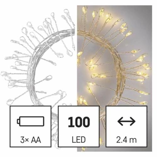 EMOS LED karácsonyi nano fényfüzér süni, 2.4 m, 3x AA, beltéri, meleg fehér, időzítő