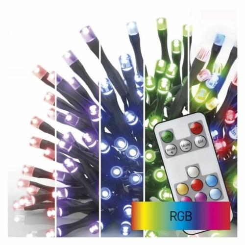 EMOS LED karácsonyi fényfüzér, 12 m, RGB, távirányító, programok, időzítő, IP44