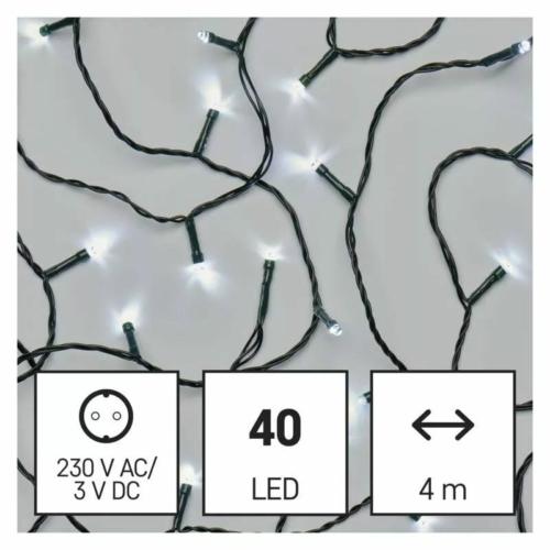 EMOS LED karácsonyi fényfüzér, 4 m, hideg fehér, időzítő, IP44