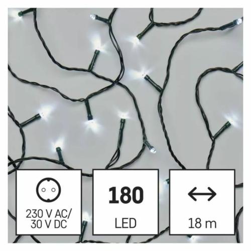 EMOS LED karácsonyi fényfüzér, 18 m, hideg fehér, időzítő, IP44