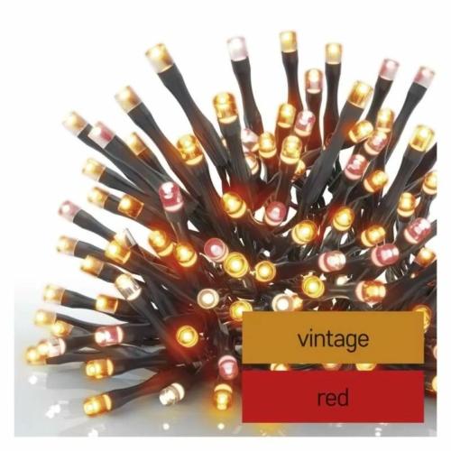 EMOS LED karácsonyi fényfüzér, pulzáló, 12 m, vintage/piros, időzítő, IP44
