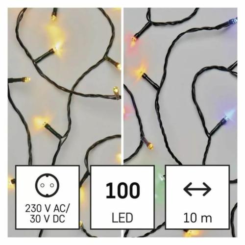 EMOS LED karácsonyi fényfüzér 2 az 1-ben, 10 m, meleg fehér/többszínű, programozható, IP44
