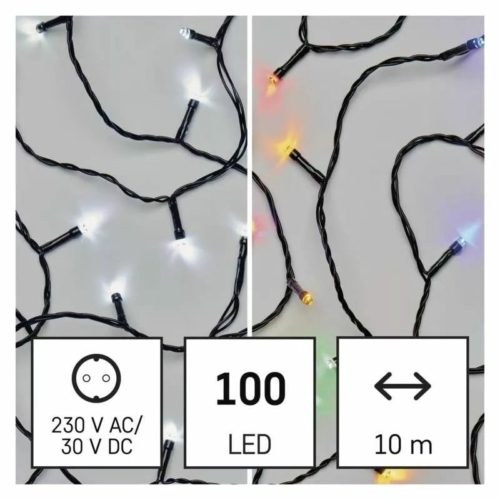EMOS LED karácsonyi fényfüzér 2 az 1-ben, 10 m, hideg fehér/többszínű, programozható, IP44