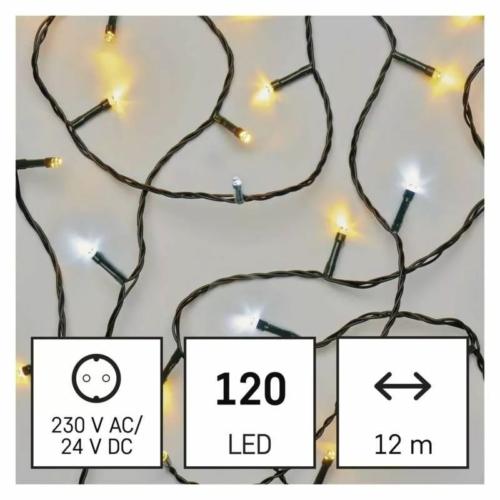 EMOS LED karácsonyi fényfüzér, pulzáló, 12 m, meleg/hideg fehér, időzítő, IP44