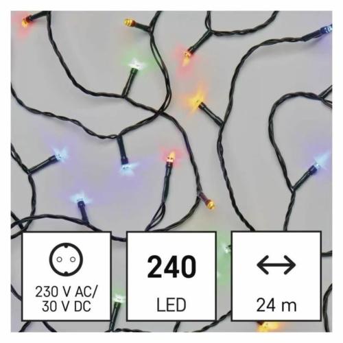 EMOS LED karácsonyi fényfüzér, 24 m, többszínű, programokkal, IP44