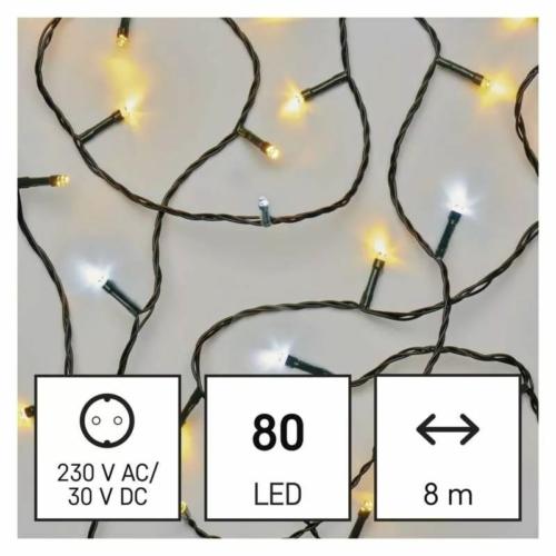 EMOS LED karácsonyi fényfüzér, 8 m, meleg/hideg fehér, időzítő, IP44