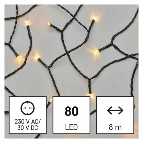 EMOS LED karácsonyi fényfüzér, 8 m, vintage, időzítő, IP44