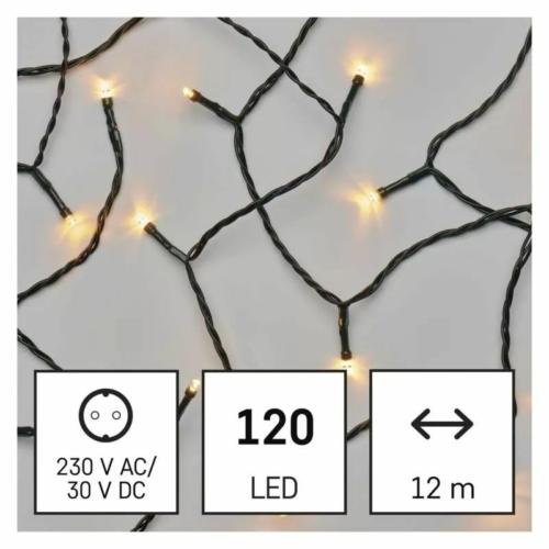 EMOS LED karácsonyi fényfüzér, 12 m, vintage, időzítő, IP44