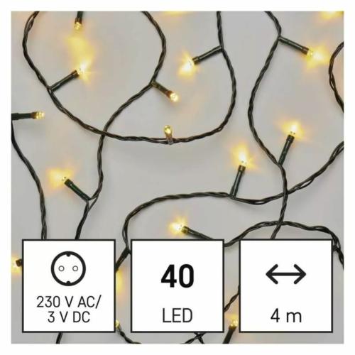EMOS LED karácsonyi fényfüzér, 4 m, meleg fehér, időzítő, IP44