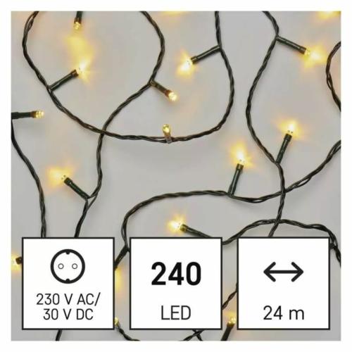 EMOS LED karácsonyi fényfüzér, 24 m, meleg fehér, időzítő, IP44