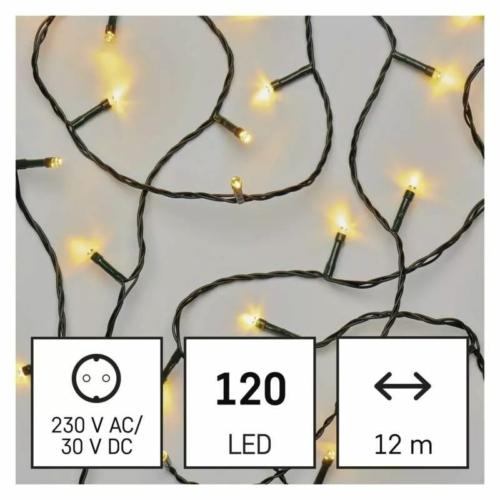 EMOS LED karácsonyi fényfüzér, zöld, 12 m, meleg fehér, IP44