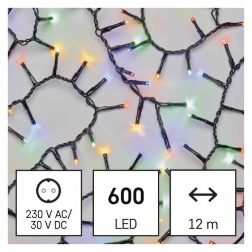 EMOS LED karácsonyi fényfüzér süni, 12 m, többszínű, időzítő, IP44