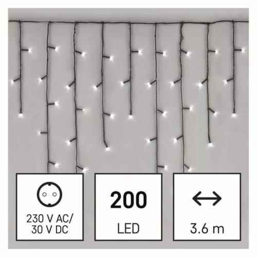 EMOS LED karácsonyi jégcsapok, 3.6 m, hideg fehér, programokkal, IP44