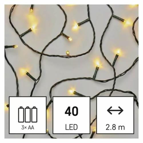 EMOS LED karácsonyi fényfüzér, 2.8 m, 3x AA, meleg fehér, időzítő, IP44
