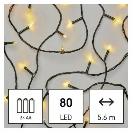 EMOS LED karácsonyi fényfüzér, 5.6 m, 3x AA, meleg fehér, időzítő, IP44