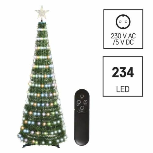 EMOS LED karácsonyfa fényfüzérrel és csillaggal, 1.5 m, távirányító, időzítő, RGB, IP44