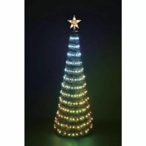 EMOS LED karácsonyfa fényfüzérrel és csillaggal, 1.8 m, távirányító, időzítő, RGB, IP44