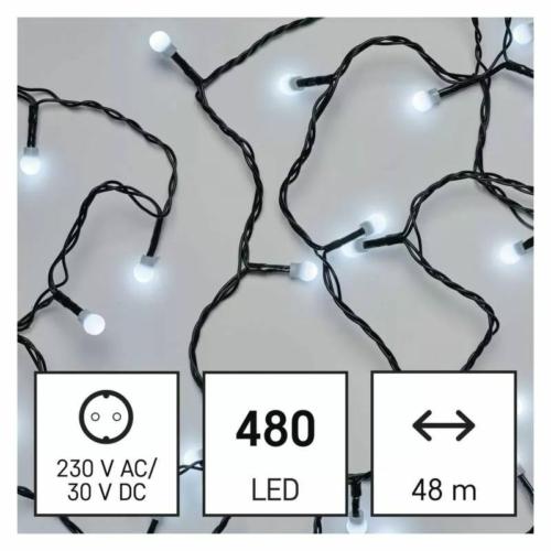 EMOS LED karácsonyi fényfüzér, cseresznye  golyók, 48 m, hideg fehér, időzítő, IP44