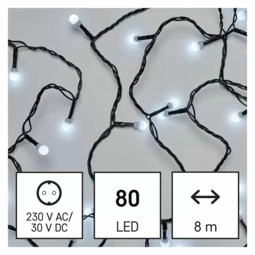 EMOS LED karácsonyi fényfüzér, cseresznye golyók, 8 m, hideg fehér, programozható, IP44