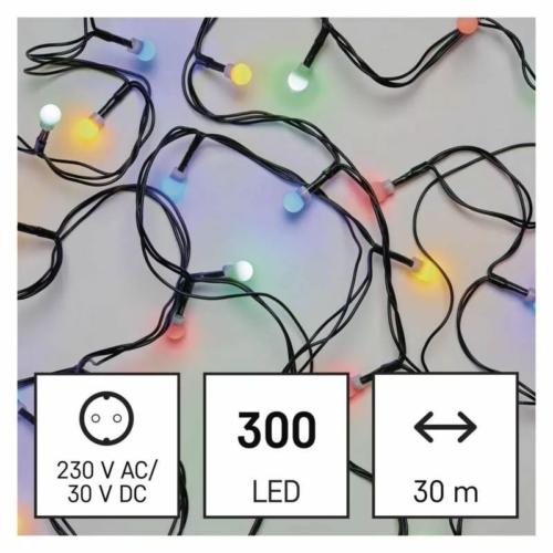 EMOS LED karácsonyi fényfüzér, cseresznye golyók, 30 m, többszínű, időzítő, IP44