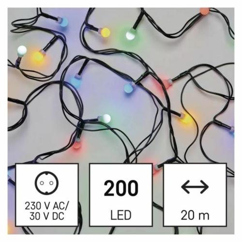 EMOS LED karácsonyi fényfüzér, cseresznye golyók, 20 m, többszínű, programozható, IP44